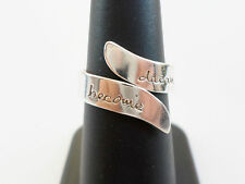 Far Fetched Polished Sterling Silver Dream and Become Wrap Band Ring Size 6 3/4