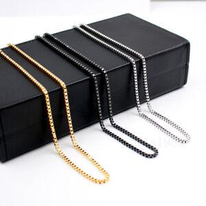 Men's Silver/Gold/Black Necklace S.steel box charm Venice Pendant chain 14-34in