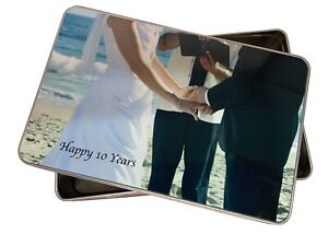 Personalised tin add photograph 10th Tin wedding anniversary or Pet treats gift