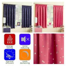 Thermal Curtains Moon & Stars Tape Top Block Out Kids Bedroom Curtains Blue Pink