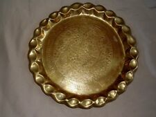 VINTAGE ROUND SERVING BRASS TRAY OR WALL HANGING