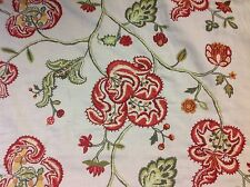 Mulberry / Lee Jofa Embroidered Floral Jacobean Fabric- Montjoy / Red Green 2 yd