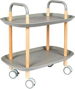 Felis Sideboard Trolley Wood Frame Plastic Trays, Grey Iron Handles H59 X 57.5W