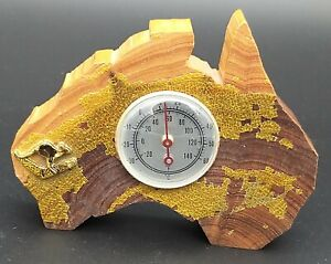 AUSTRALIA MAP IN GENUINE MULGA WOOD, INSET THERMOMETER, 4 inches wide
