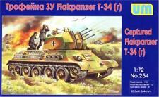 Unimodels 1/72 WWII Captured T34 R FlakpanzerTank Plastic Model Kit 254 NEW!