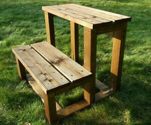 Horse Timber Mounting Block 60cm Solid 2 Step Authentic Wooden Mounting Block