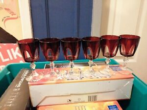 Vintage Ruby Red Glass Wine Goblets Cut to Clear Red 6 Glasses 15cm High FRENCH