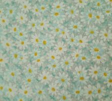 Daisy Calico Floral Bty Fabric Traditions Aqua Blue & White on Gray