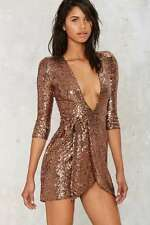 Zhivago Metallic Copper Sequined Sovereign of Stars Wrap Dress Size Large