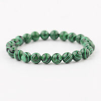Natural Green Malachite Round Gemstone Beads Stretchy Bracelet Gift 6MM 8MM 10MM
