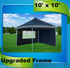 10'x10' Pop Up Canopy Party Tent EZ - Black Checker - F Model Upgraded Frame
