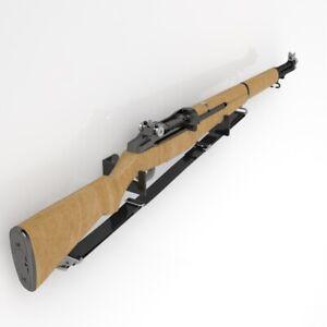 Minimalist Wall Mounted Rifle Brackets / Rifle Display Stand - Black