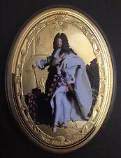 Rare Frappe Commémorative XXL 8,5 Cm Louis XIV Dorée À L'or Fin Avec 1 Chronique