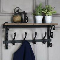 Rustic wooden wall shelf 4 double iron hooks coat scarf hat hanging storage
