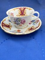 EB FOLEY Bone China Made In England Red & Gold Floral Coffee Tea Cup & Saucer