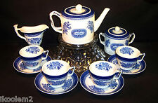 Copeland Spode Fitzhugh 11 Pc. Tea Set - Teapot, Creamer, Sugar, 4 Cups, Saucers