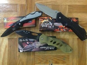 Assortment of tactical and search and rescue quality lock blades. Hunting also!!