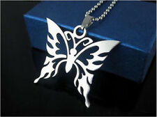 Butterfly Womens Men's Silver 316L Stainless Steel Titanium Pendant Necklace NEW