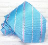 Cravatta Regimental blu azzurro Made in Italy 100% seta busines evento informale