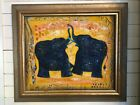 Textured Painting of Elephant on Canvas w/ Gold frame