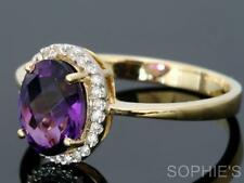 Solitaire with Accents Amethyst 18k Engagement Rings
