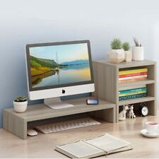 More details for monitor stand tv pc laptop computer screen riser w/ 3 tier bookcase set wood