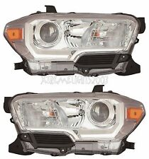 TOYOTA TACOMA CHROME 2016 2017 HEADLIGHTS HEAD LIGHTS LAMP W/O DRL PAIR SET