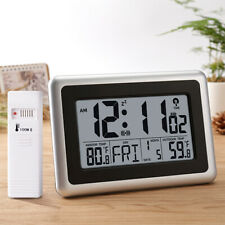 Digital Atomic Wall Desk Clock Big Lcd Display Indoor Outdoor Temperature Snooze