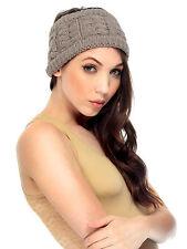 Stylish Girl Crochet Hairband Head Wrap Khaki Knit Cable Headband