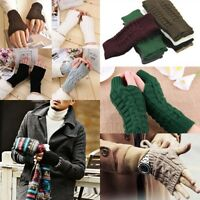 Fashion Unisex Men Women Knitted Fingerless Winter Gloves Soft Warm Mitten TL