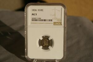 1836 CAPPED H10C Bust Half Dime Silver NGC AG 3