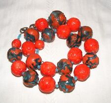 Chinese Coral and Peking Glass Carved Zodiac and Shou Bead Necklace