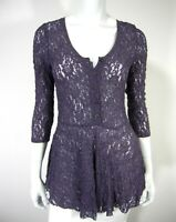 Free People Scoop Neckline 3/4 Sleeve Blouse TOP Lace Size M Medium Lavender