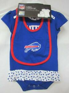 Buffalo Bills Baby Girls Size 18 Months 3 Piece Creeper Set B4 78