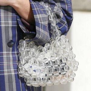 Ladies Clear Handbags Tote Handmade Pearl Bag Weave Beaded Acrylic Clutch Bags