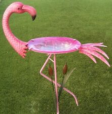 "Bird Feeder Bath Pink Flamingo metal & glass on pick post NEW 31"" tall"