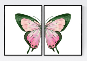 Set of 2 Butterflies Prints, Pink Butterfly Prints, Watercolour Butterfly Print
