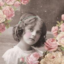 4 Servietten ~ Flower Girl Mädchen mit Rosen Nostalgie Serviettentechnik