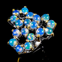 Beauty Rainbow4x4mm Natural Opal 925 Sterling Silver Ring Size 8/R121983