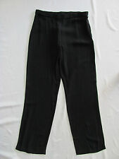 Eileen Fisher Black Straight Pants 100% Silk Georgette Crepe- Size 2P - NWT $228