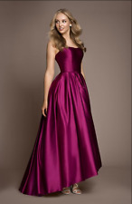 Betsy & Adam Strapless High-Low Ball Gown Pink Sz 4 NWT Mikado Prom Sherry Hill