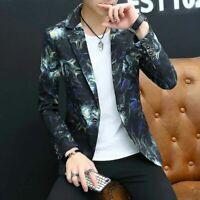 Men Suit Blazer Floral Peony Printed Bar Coats Dress Formal Luxury Jacket Size L