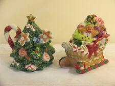 Fitz And Floyd 1996 Christmas Tree Pot And Candy Jar Rare