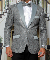 Mens Insomnia Manzini Blazer Sequin Stage Performer Prom MZE156 Gray Satin Peak