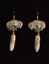 Earrings Buffalo's Feathers Sterling Silver & Turquoise  Zuni Artist Jeff James