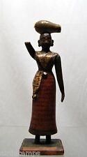 STATUETTE femme indienne BOIS sculpté XVIIIè XIXè porteuse d'eau Ht 20,7cm