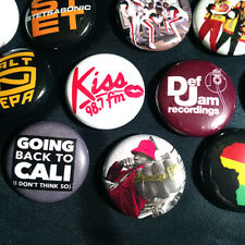 "21 Old School Hip Hop 1"" Buttons - Run-Dmc Ll Cool J Salt-n-Pepa Biz Markie Rap"