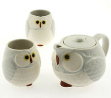 "Japanese Tea Set Happy Owl ""FUKURO"" Light Grey / New in Box/ Made in Japan"