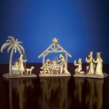 Shimmery Gold Color Christmas Nativity Scene Tea Light Candle Holder Set
