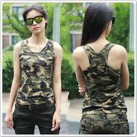 Hot Women Cotton Sleeveless Army Camo Camouflage Tank Top O-neck Slim Shirt Vest